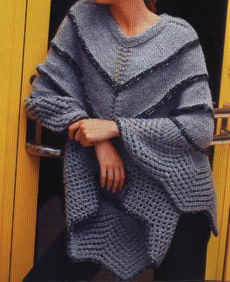19a79137a Ponchos tejidos a dos agujas :: Como tejer un poncho de lana ...